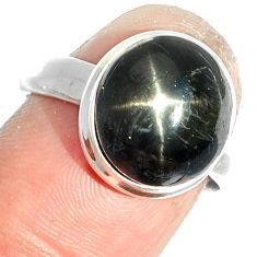 6.46cts natural black star 925 sterling silver ring jewelry size 7 m63320