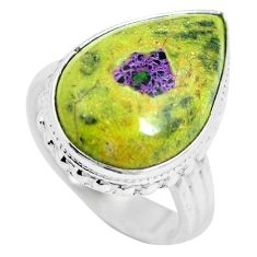 Green atlantisite (tasmanite) stichtite-serpentine 925 silver ring size 6 m63501