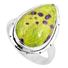 Green atlantisite (tasmanite) stichtite-serpentine 925 silver ring size 7 m63505