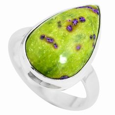 Atlantisite (tasmanite) stichtite-serpentine 925 silver ring size 8.5 m63512