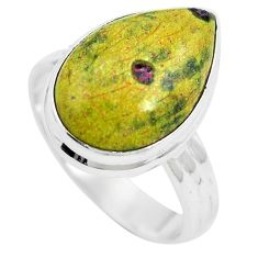 Green atlantisite (tasmanite) stichtite-serpentine 925 silver ring size 9 m63513