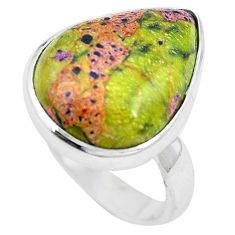 925 silver green atlantisite (tasmanite) stichtite-serpentine ring size 7 m63517