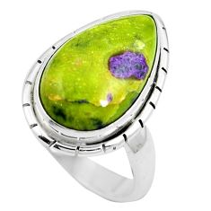 925 silver green atlantisite (tasmanite) stichtite-serpentine ring size 6 m63520