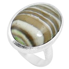 18.46cts natural grey striped flint ohio 925 sterling silver ring size 9 m63622