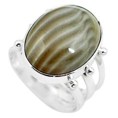 15.53cts natural grey striped flint ohio 925 silver ring size 7.5 m63623