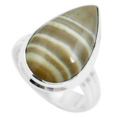 16.07cts natural grey striped flint ohio 925 sterling silver ring size 9 m63624
