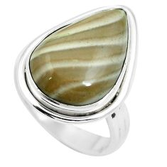 14.72cts natural grey striped flint ohio 925 sterling silver ring size 8 m63625