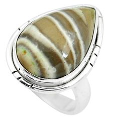 14.90cts natural grey striped flint ohio 925 silver ring size 7.5 m63626