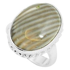 14.47cts natural grey striped flint ohio 925 silver ring size 6.5 m63627