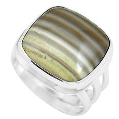 16.46cts natural grey striped flint ohio 925 sterling silver ring size 7 m63628