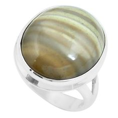16.70cts natural grey striped flint ohio 925 sterling silver ring size 8 m63629