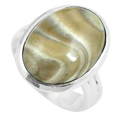 15.29cts natural grey striped flint ohio 925 sterling silver ring size 9 m63630