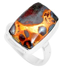 12.36cts natural brown bauxite 925 sterling silver ring jewelry size 8 m63662