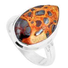 12.48cts natural brown bauxite 925 sterling silver ring jewelry size 9 m63663