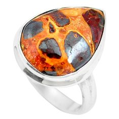 12.58cts natural brown bauxite 925 sterling silver ring jewelry size 6.5 m63664