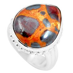 13.79cts natural brown bauxite 925 sterling silver ring jewelry size 6 m63665