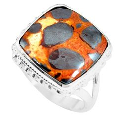 14.72cts natural brown bauxite 925 sterling silver ring jewelry size 7.5 m63666