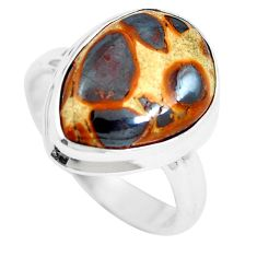 9.53cts natural brown bauxite 925 sterling silver ring jewelry size 6.5 m63668