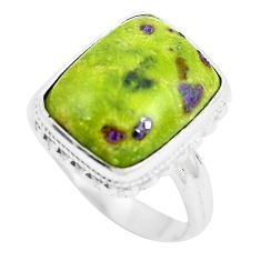 7.67ct atlantisite tasmanite) stichtite-serpentine 925 silver ring size 7 m63673