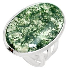 21.20cts natural green moss agate 925 sterling silver ring size 8.5 m63721