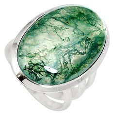 21.20cts natural green moss agate 925 sterling silver ring size 7.5 m63722