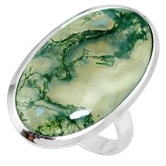 19.72cts natural green moss agate 925 sterling silver ring jewelry size 9 m63723