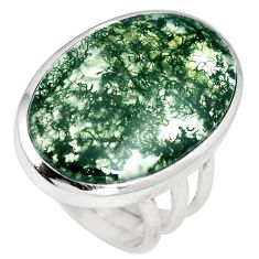 21.58cts natural green moss agate 925 sterling silver ring size 8.5 m63724