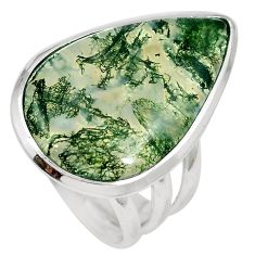 19.07cts natural green moss agate 925 sterling silver ring jewelry size 7 m63725
