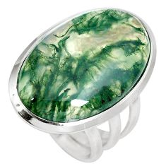 21.20cts natural green moss agate 925 sterling silver ring size 7.5 m63726