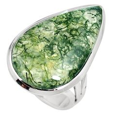 18.70cts natural green moss agate 925 sterling silver ring jewelry size 7 m63727
