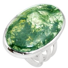 25.19cts natural green moss agate 925 sterling silver ring jewelry size 7 m63728