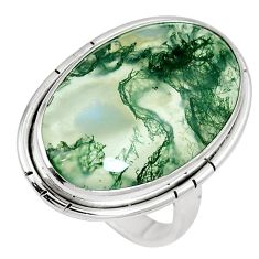 19.23cts natural green moss agate 925 sterling silver ring jewelry size 8 m63729
