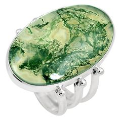 18.70cts natural green moss agate 925 sterling silver ring size 8.5 m63730