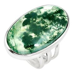 23.04cts natural green moss agate 925 sterling silver ring size 5.5 m63731
