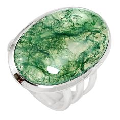 20.23cts natural green moss agate 925 sterling silver ring size 7.5 m63732