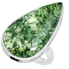 22.44cts natural green moss agate 925 sterling silver ring jewelry size 9 m63733
