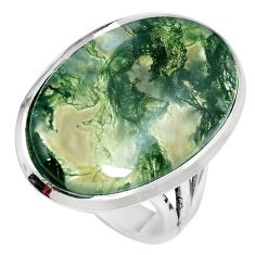 19.68cts natural green moss agate 925 sterling silver ring jewelry size 9 m63734