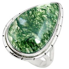 19.68cts natural green moss agate 925 sterling silver ring jewelry size 9 m63735