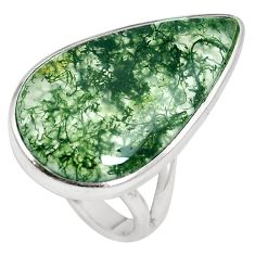 17.22cts natural green moss agate 925 sterling silver ring jewelry size 7 m63736