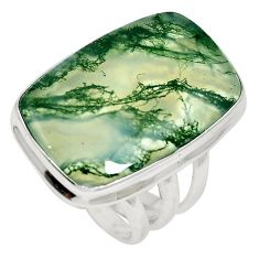 21.58cts natural green moss agate 925 sterling silver ring size 7.5 m63737