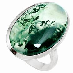17.57cts natural green moss agate 925 sterling silver ring jewelry size 9 m63738