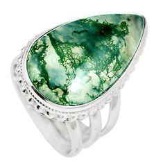 21.18cts natural green moss agate 925 sterling silver ring jewelry size 6 m63740