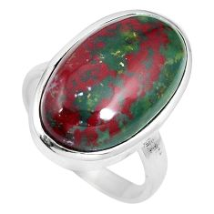 20.07cts natural bloodstone african (heliotrope) 925 silver ring size 10 m63742
