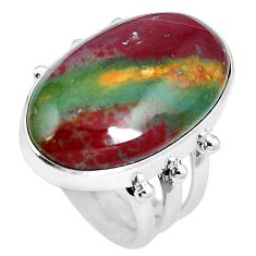 19.20cts natural bloodstone african (heliotrope) 925 silver ring size 6.5 m63743