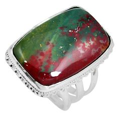 26.68cts natural bloodstone african (heliotrope) 925 silver ring size 8 m63744