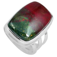 20.58cts natural bloodstone african (heliotrope) 925 silver ring size 5.5 m63746
