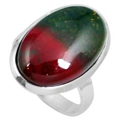 16.73cts natural bloodstone african (heliotrope) 925 silver ring size 8.5 m63747