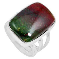 15.16cts natural bloodstone african (heliotrope) 925 silver ring size 6 m63748