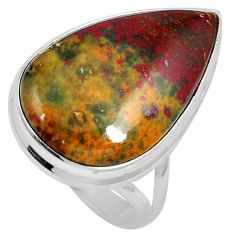 17.57cts natural bloodstone african (heliotrope) 925 silver ring size 7 m63752