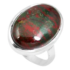 19.72cts natural bloodstone african (heliotrope) 925 silver ring size 10 m63753